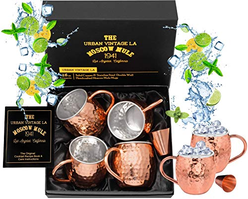 Set of 4 Moscow Mule Copper Mugs with Stainless Steel Lining & Shot Glass in Large Gift Box | Premium Double Wall Heavy Copper Cups | Hammered, Food Safe, Lined, - Steel Four Stainless Mugs