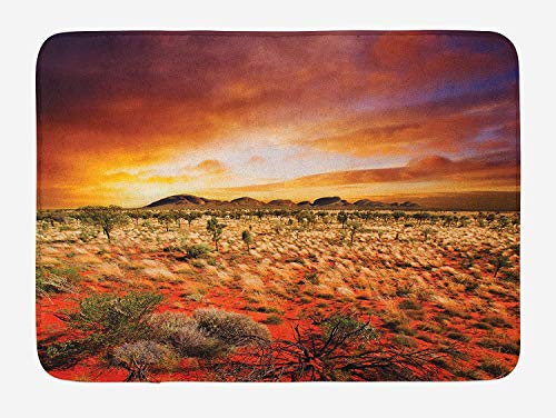 Weeosazg Desert Bath Mat, Sunset Over Central Australian Landscape Dreamy Dramatic Sky Scenic Nature, Plush Bathroom Decor Mat with Non Slip Backing, 31.5 X 19.7 Inches, Orange Yellow Coral