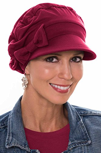 - Versatility Newsboy Hat-Caps for Women with Chemo Cancer Hair Loss Luxury Bamboo - Bordeaux