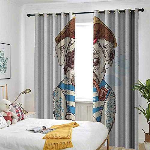 Kitchen Curtains Pocket Insulation Curtain Pug,Pirate Pug Conqueror of The Seas Pipe Skulls and Bones Hat Striped Sleeveless T-Shirt Brown Blue