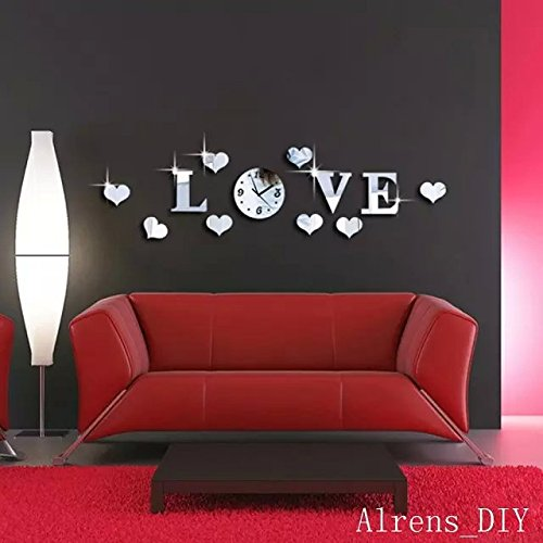 Alrens_DIY(TM)Silver Creative Love Heart Boutique Store Art Mordern Luxury Design DIY Acrylic Non-ticking Quiet Quartz Wall Clock Watch Removable 3D Crystal Mirror Wall Clock Wall Sticker Home Decor Art Living Room Bedroom Office Decoration by Alrens (Image #2)