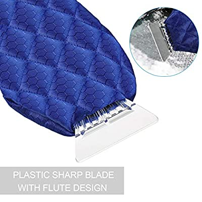 2 Pieces Ice Scraper Glove Mitt, Car Snow Scraper Mitt Windshield Scrapers with Remover Glove for Car Windshield, Royal Blue and Black: Automotive