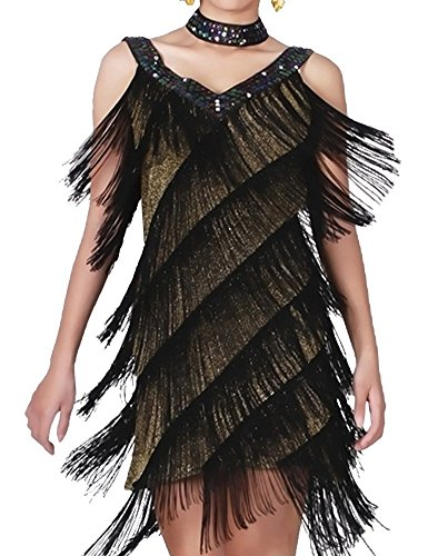 [KAYAMIYA Women's Art Deco 1920s Gatsby Sequins Tassel Deep V Flapper Dress M/L Gold Black] (Blue Flapper Dress)