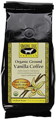 Singing Dog Vanilla Organic Ground Vanilla Coffee With Real Ground Vanilla Beans Inside, 10-Ounce Bags (Pack of 2)