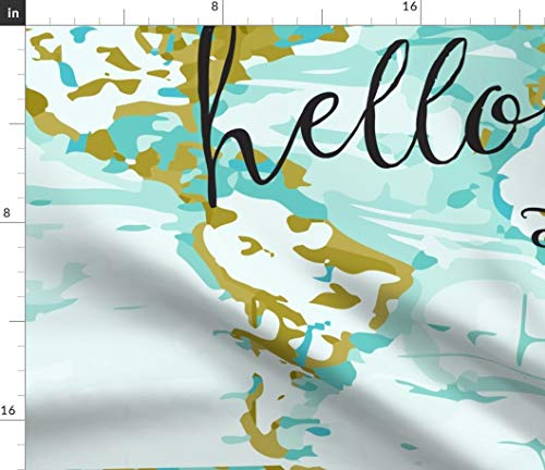 (Spoonflower Changing Pad Cover Fabric - Hello World Map Elizabeth Ivie Ivieclothco Aqua Mustard Print on Fabric by The Yard - Fleece for Sewing Blankets Loungewear and No-Sew Projects )