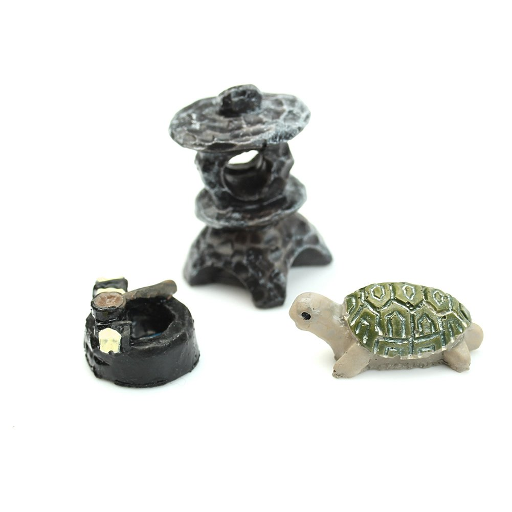 HeroNeo 3Pcs Mini Dollhouse Bonsai Craft Garden Ornament For Plant Pots Fairy Garden (Turtle & Shrine)
