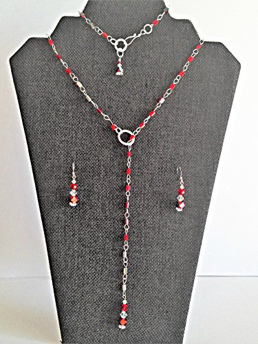 Red Crystal Lariat, Bracelet and Earring Jewelry Set ()