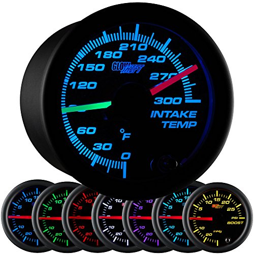 GlowShift Black 7 Color 300 F Dual Intake Intercooler Temperature Gauge Kit - Includes 2 Electronic Sensors - Red & Green Illuminated Analog Needles - Black Dial - Clear Lens - Air Kit Intercooler