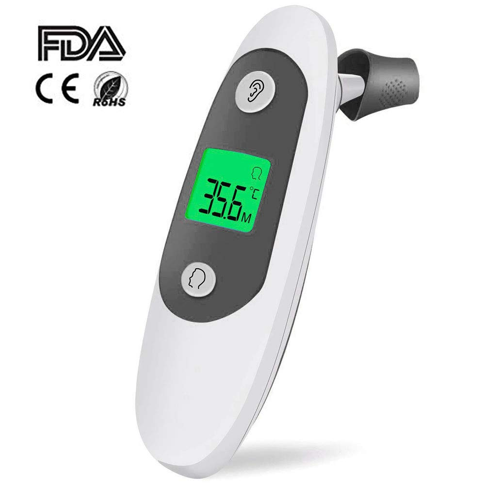 TOP-MAX Ear and Forehead Thermometer, Professional Precision Infrared Digital Thermometer for Baby, Children and Adult, 1 Second Measurement Time - 32 Memory Recall and Fever Warning, CE/FDA