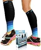 Calf Compression Sleeve for Men & Women, Best Footless Socks for Shin Splints & Leg Cramps, Runners Calves Circulation Remedy, Support Stockings, Running Gear, Basketball Lycra Tights - BLUE & BLACK