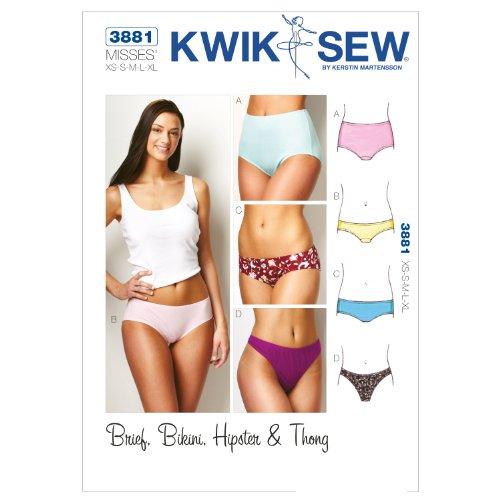Kwik Sew Pattern 3881 Misses Panties Brief, Bikini, Hipster and Thong Sizes XS-S-M-L-XL (Sewing Sew Patterns Kwik)