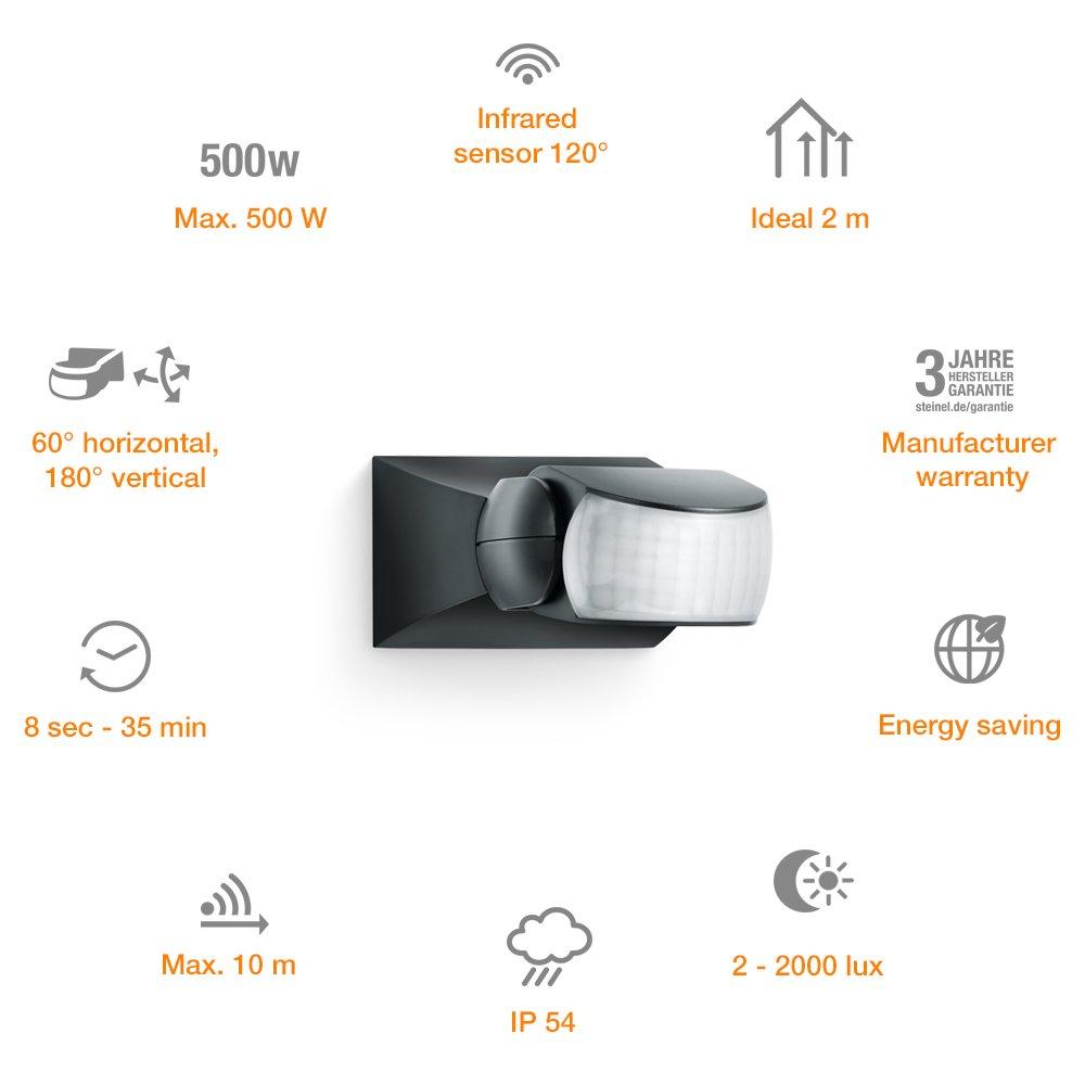 Detector de movimiento infrarojo IS 1 12 x 8 x 5 cm Steinel 600310 sensor de movimiento para dentro y fuera con 120/° /ángulo de detecci/ón color blanco