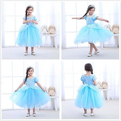 9-layers Tulle Skirt Princess Cinderella Costume Girls Dress Up With Accessories 5T 6T by Party Chili (Image #3)