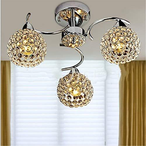 LED Ceiling Lamp Modern Three-Head Crystal Ceiling Lamp Dining Chandelier Living Room Lamp Bedroom Lamp Cubic Three Light Chandelier