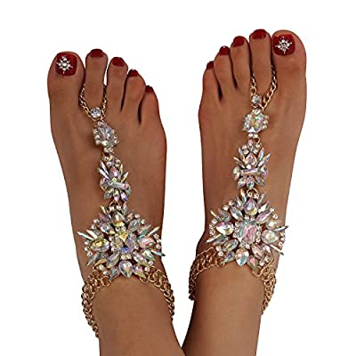 Holylove 1 Pair Crystal Foot Jewelry for Women Barefoot Sandals Beach Wedding with Gift Box
