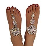 Holylove Foot Jewelry for Women Barefoot Sandals Summer Beach Party Crystal Anklets Chains Wedding Vocation 1 Pair with Gift Box – AB039