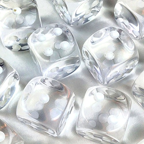 Custom & Unique {Standard Medium 16mm} 12 Ct Dozen Pack Set of 6 Sided [D6] Square Cube Shape See-Through Playing & Game Dice w/ Rounded Corner Edges w/ Crystal Design ()