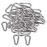 Yibuy 50x Multifunctional Spring Snap Quick Link Lock Carabiner Stainless M6 60mm