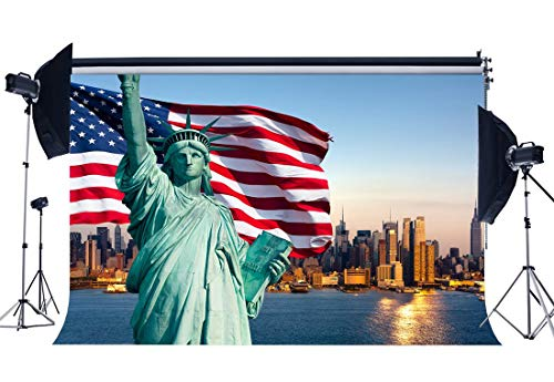SZZWY 5X3FT Statue of Liberty Backdrop America Flag New York City Skyscraper River Blue Sky Stars and Stripes Wallpaper Spring Journey Vinyl Photography Background Baby Photo Studio Props YX82