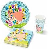 UMOI Set per feste di compleanno usa e getta - 30 piatti di carta, 30 bicchieri di carta e 60 tovaglioli di alta qualità per feste di compleanno per bambini 120 pz. (Compleanno)
