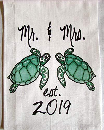 Sea Turtle Mr. and Mrs. est. 2019 handmade tea towel -