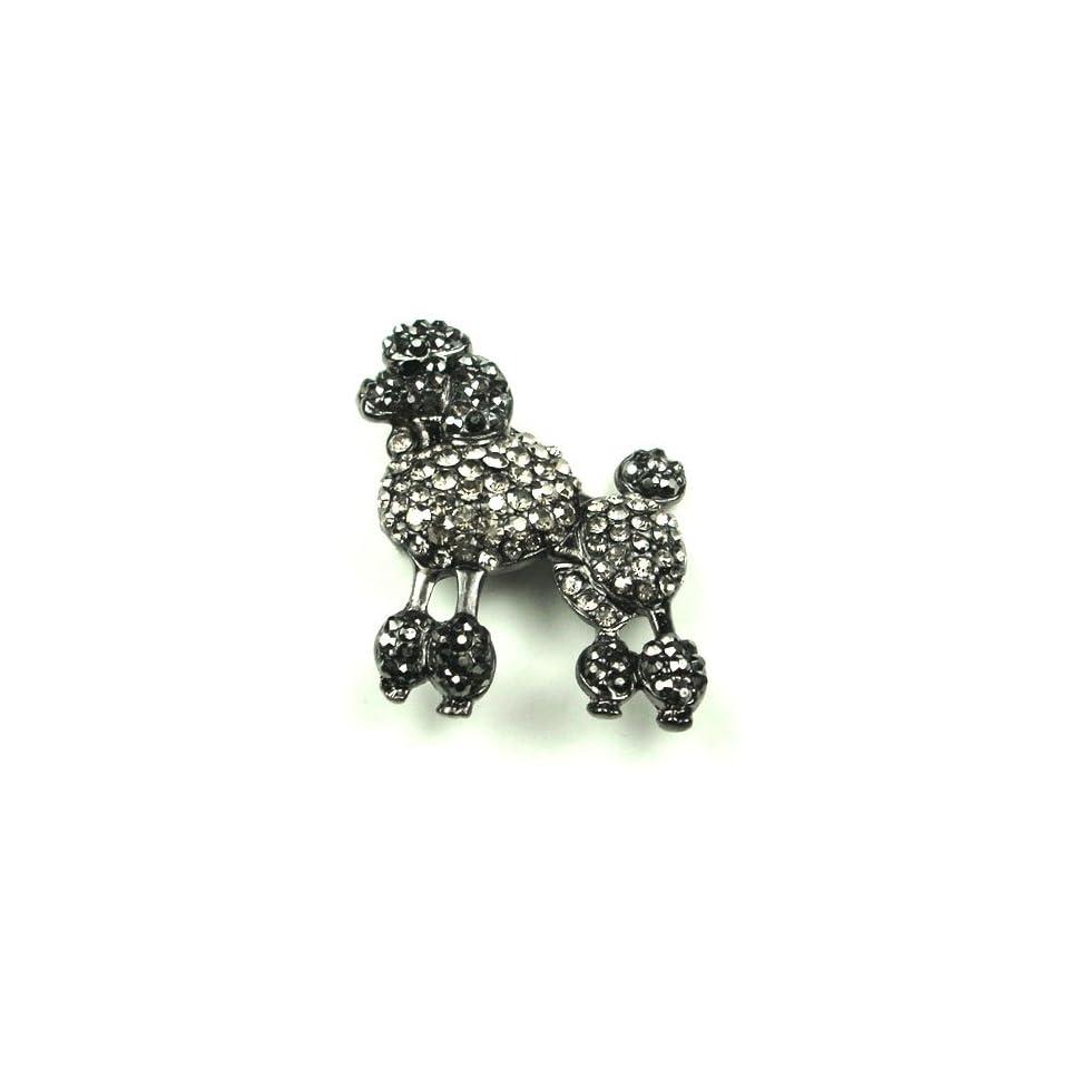 Black Smokey Austrian Rhinestone Poodle Dog Antique Silver Tone Brooch Pin