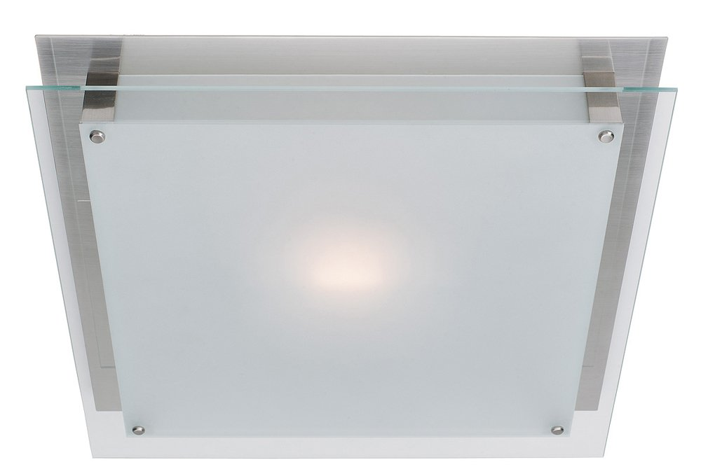 Vision - 10''sq. Flush Mount - Brushed Steel Finish - Frosted Glass Shade