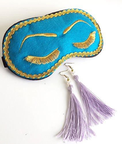 Handmade Breakfast at Tiffany's Eyelashes Sleep Mask Tassel Earrings Set Bachelorette Party Mask. -
