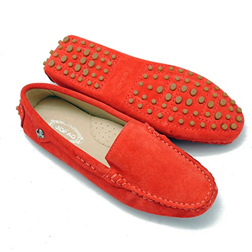 Trail Red TDA Comfortable Womens Slip Flats Walking Loafers Shoes Driving Running Boat On IOS4wOrq