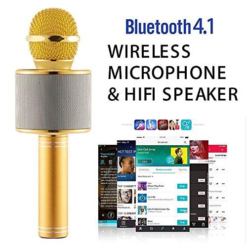DLH MOBILE Portable Wireless Karaoke Microphone,Handheld Cellphone Karaoke Player Built-in Bluetooth HIFI Speaker, Selfie 3-in-1 Rechargeable Li-battery Karaoke KTV MIC Machine Gold (WS858) by DLH MOBILE (Image #4)