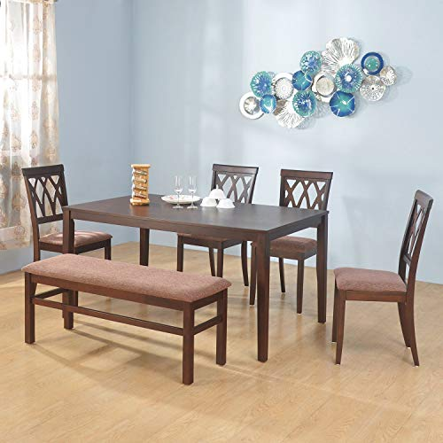 @home by Nilkamal Peak 1 + 4 + Bench Dining Set (Cappucino)