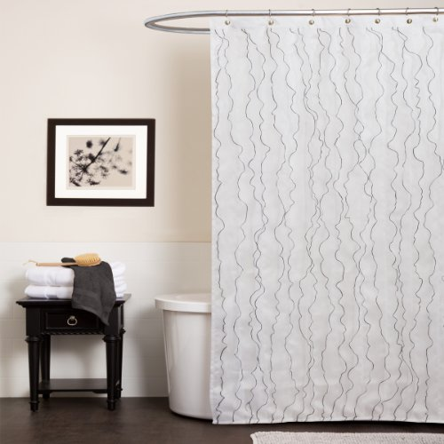 Lush Decor Romana Shower Curtain, 72-Inch by 72-Inch, White