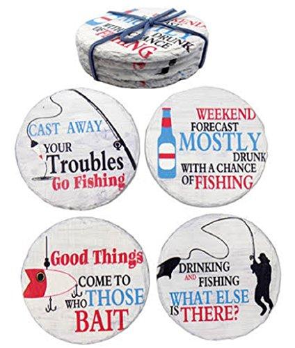 Barry Owens Co. Inc. 4 Fishing Design Stone - Fish Coasters