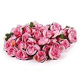 Tinksky 50pcs 3cm Artificial Roses Flower Heads Wedding Decoration (Pink)