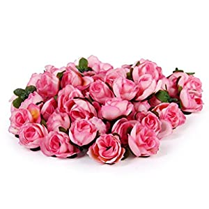 Tinksky 50pcs 3cm Artificial Roses Flower Heads Wedding Decoration (Pink) 14