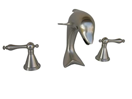 AllBrass Brushed Nickel Dolphin Sink Faucet Complete Set Including Pop Up  Drain