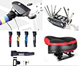 Bicycle Saddle With Dual Shock Absorbing Ball, Suspension Seat Memory Foam Cushion , plus 16 in 1 Multi-Function Bike Repair Tool Kit With a FREE Mini Pump & Horn with LED Light : Bundle – 4 Items