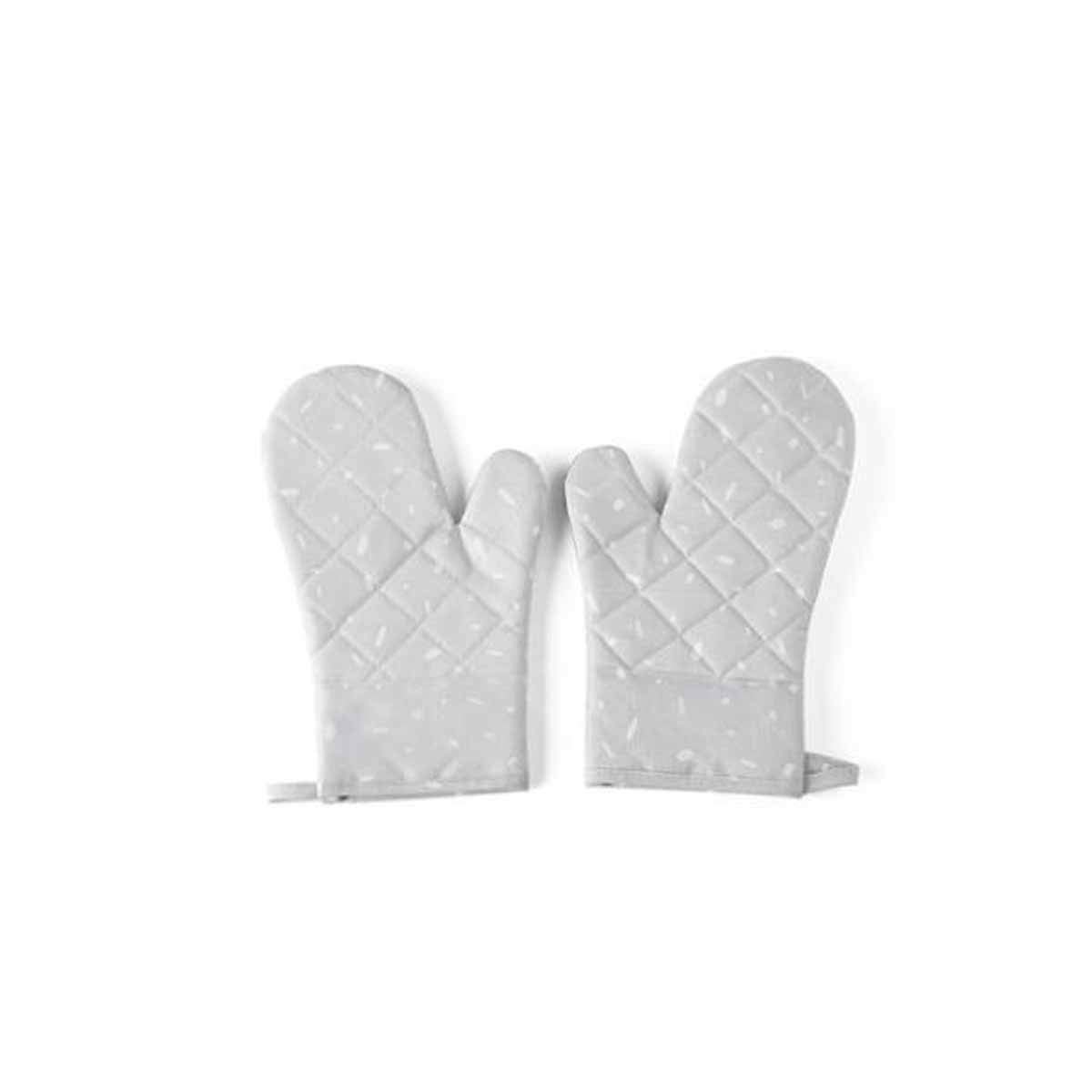 Insulation Anti-scalding Gloves, Kitchen Microwave Oven Thick Silicone High Temperature Resistant, Cooking Baking Oven (Two) (Color : Gray)