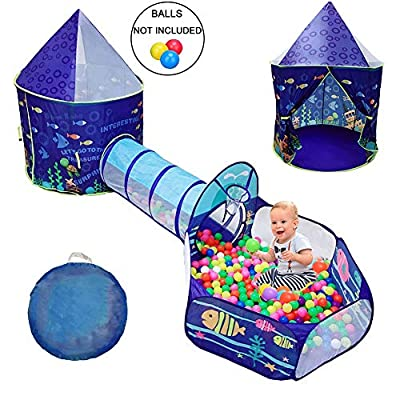 LOJETON 3pc Ocean World Kids Play Tent, Tunnel & Ball Pit with Basketball Hoop for Boys, Girls and Toddlers - Indoor/Outdoor Playhouse, Lightweight, Easy to Setup: Toys & Games