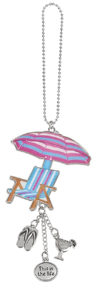 BEACH CHAIR Ganz Car Charm with Dangle Charms and Ball Chain for Rearview Mirror