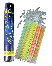 مجموعة العصي المضيئة للحفلات بالوان متعددة يمكن ارتداؤها كاساور مضيئة متوهجة (كل عصا بطول 8 انش وتحوي المجموعة 100 قطعة توصيل)