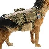 Excellent Elite Spanker Tactical Dog Molle Vest Harness Training Dog Vest Handle with 2 ~ 3 Detachable Pouches(Kryptek ManDrake-L)