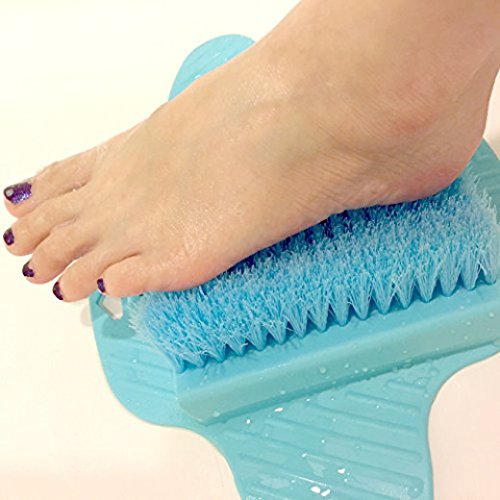 (Healthstar Blue Foot Massager Scrubber for Shower Floor - Exfoliating Bristles, Easy to Clean and Use, Hangable Scrub Pad (Blue))