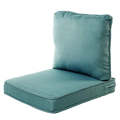 "Quality Outdoor Living 29-AB04SB Chair Cushion, 22"" Width by 25"" Depth, Arctic Blue - Pack of 2"