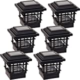 GreenLighting 6 Pack Classica 20 Lumen Plastic Solar Post Cap Lights for 4x4 Wood Posts (Black)