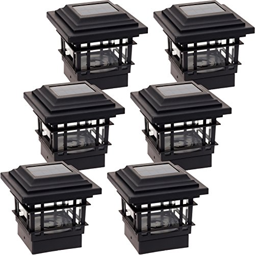 GreenLighting 6 Pack Classica 20 Lumen Plastic Solar Post Cap Lights for 4x4 Wood Posts (Black) by GreenLighting