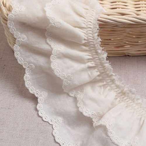 1yard Broderie Anglaise Gathered Cotton Eyelet lace Trim 7.5cm YH1464a -