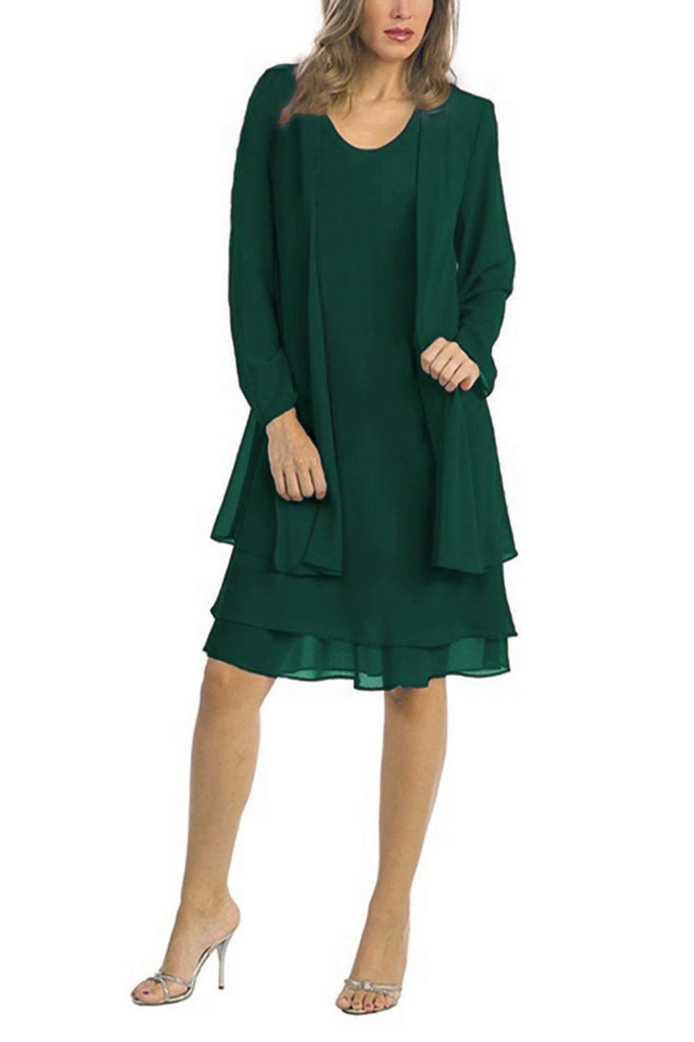 Chiffon Plus Size Mother of The Bride Dresses with Jacket Knee Length (3XL,  Green)