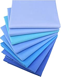 Solids Blues 8 Fat Quarters Quilting Fabric Bundles, Precut Cotton Fabric for Sewing Crafting,(Solids Blue)