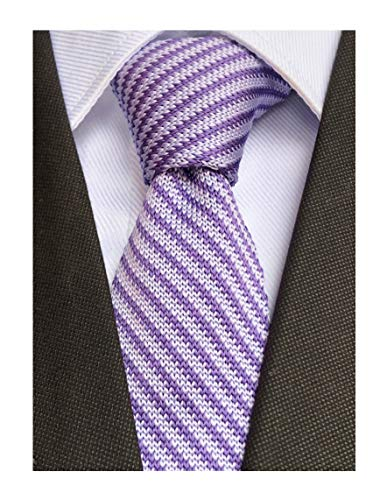 Men Boys Novelty Violet Purple Knitted Neck Tie Diagonal Stripes Accessory Narrow Necktie Gift for Husband ()